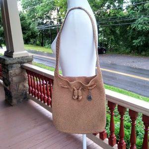 The SAK Crocheted shoulder Bag Drawstring Tan